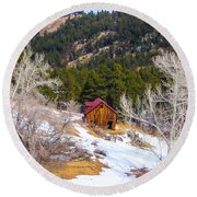 Round Beach Towel featuring the photograph Country Barn by Shannon Harrington