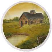 Country Cabin Round Beach Towel