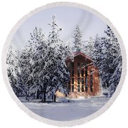 Round Beach Towel featuring the photograph Country Christmas by Janie Johnson