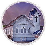 Country Church At Sunset Art Prints Round Beach Towel by Valerie Garner