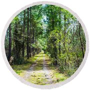 Round Beach Towel featuring the photograph Country Path by Shannon Harrington