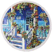 Country Porch And Flowers By Prankearts Round Beach Towel
