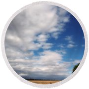Round Beach Towel featuring the photograph Country Sky by Vicki Ferrari