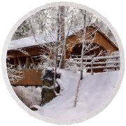 Covered Bridge At Olmsted Falls - 2 Round Beach Towel