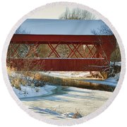 Covered Bridge Round Beach Towel by Eunice Gibb