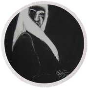 Round Beach Towel featuring the drawing Waiting by Gabrielle Wilson-Sealy