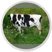Cow In The Flowers Round Beach Towel by Patricia Overmoyer