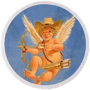 Cow Kid Cupid Round Beach Towel