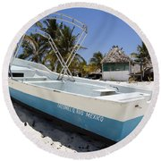 Round Beach Towel featuring the photograph Cozumel Mexico Fishing Boat by Shawn O'Brien