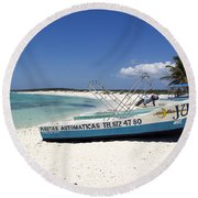 Round Beach Towel featuring the photograph Cozumel Mexico Fishing Boats On White Sand Beach by Shawn O'Brien