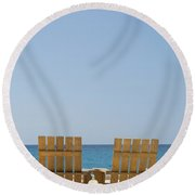 Round Beach Towel featuring the photograph Cozumel Mexico Poster Design Beach Chairs And Blue Skies by Shawn O'Brien