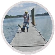 Crabber Man Round Beach Towel by Patricia Greer
