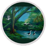 Cranes On The Swamp Round Beach Towel