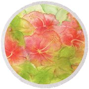 Creamsicle Hibiscus Round Beach Towel