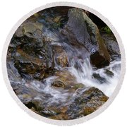 Creek Scene On Mt Tamalpais Round Beach Towel