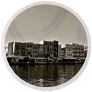 Round Beach Towel featuring the photograph Crete Reflected by Eric Tressler
