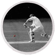 Cricketer In Black And White With Red Ball Round Beach Towel