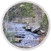 Round Beach Towel featuring the photograph Crooked Creek by Donna G Smith