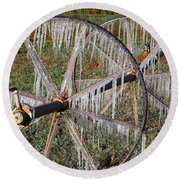 Round Beach Towel featuring the photograph Crops Of Ice #2 by Nola Lee Kelsey