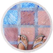 Cross-legged On A Colorful Sidewalk Round Beach Towel by Anne Mott
