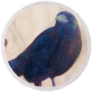 Crow Friend Round Beach Towel