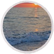 Crystal Blue Waters At Sunset In Treasure Island Florida 2 Round Beach Towel