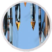 Crystal Cathedral Tower Points Round Beach Towel by Mariola Bitner