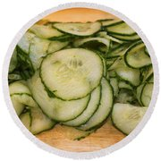 Cucumbers Round Beach Towel