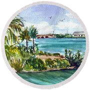 Round Beach Towel featuring the painting Cudjoe Key Bridge by Clara Sue Beym