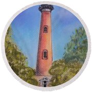 Round Beach Towel featuring the pastel Currituck Lighthouse Nc by Julie Brugh Riffey