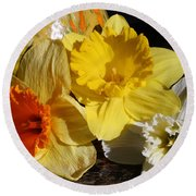 Round Beach Towel featuring the photograph Daffodil Threesome by Kay Novy