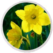 Round Beach Towel featuring the photograph Daffodils by Sherman Perry