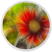 Round Beach Towel featuring the photograph Dalia Pseudo Fractal by Lynne Jenkins