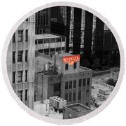 Round Beach Towel featuring the photograph Dallas Texas Red Color Splash Black And White by Shawn O'Brien
