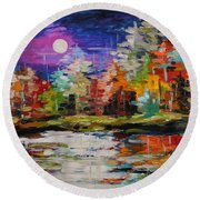Dance On The Pond Round Beach Towel
