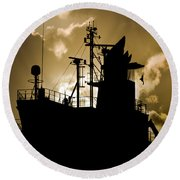 Dark Superstructure Round Beach Towel