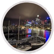 Darling Harbor Sydney Skyline 2 Round Beach Towel by Douglas Barnard