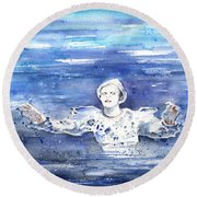 David Bowie In Ashes To Ashes Round Beach Towel