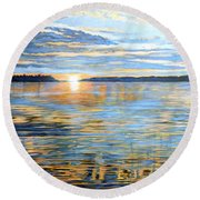Round Beach Towel featuring the painting Davidson Quebec by Tom Roderick