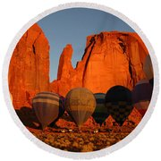 Dawn Flight In Monument Valley Round Beach Towel by Vivian Christopher