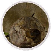 Round Beach Towel featuring the photograph Dead Rosebud by Steve Purnell