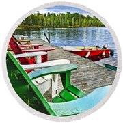 Deck Chairs On Dock At Lake Round Beach Towel