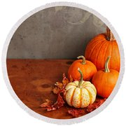 Round Beach Towel featuring the photograph Decorative Fall Pumpkins by Verena Matthew