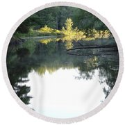 Deer River In Early Sun Round Beach Towel