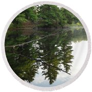 Deer River Reflection Round Beach Towel
