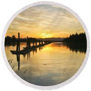 Round Beach Towel featuring the photograph Delta Sunset by Albert Seger