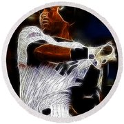 Derek Jeter New York Yankee Round Beach Towel by Paul Ward