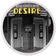 Desire Corner Bourbon Street French Quarter New Orleans Color Splash Black And White Digital Art  Round Beach Towel by Shawn O'Brien