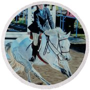 Determination - Horse And Rider - Horseshow Painting Round Beach Towel