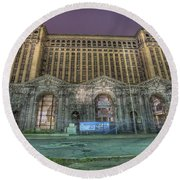 Detroit's Michigan Central Station - Michigan Central Depot Round Beach Towel by Nicholas  Grunas